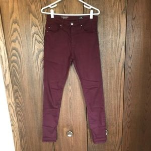 AG The Farrah High Rise Skinny Burgundy 27